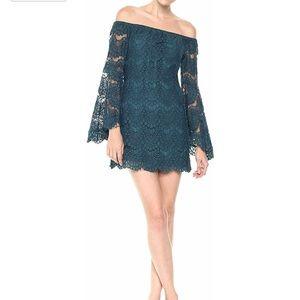 MINKPINK  Women's Off The Shoulder Lace Dress Teal
